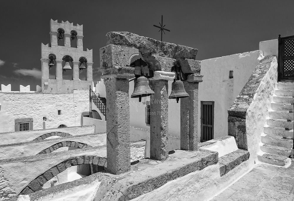 Monastery of Saint John the Theologian on the Greek island of Patmos. Monastery constructed in the 11th century, still a place of pilgrimage & Greek Orthodox learning.