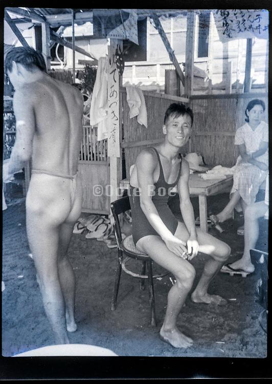 men in bathing suit Japan ca 1950s