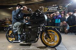 Oliver Jones rides in for grand entry into the 26th Annual Yokohama Hot Rod and Custom Show 2017. Yokohama, Japan. Sunday December 3, 2017. Photography ©2017 Michael Lichter.