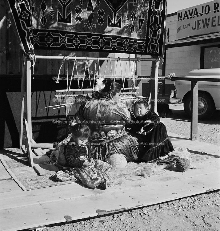 """Indian weaving. November 17, 1957"" Little Arrow Trading Post, Morristown, Arizona,"