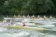 """Henley on Thames, United Kingdom, 23rd June 2018, Saturday,   """"Henley Women's Regatta"""",  view, Championships Women's Eights top, Drexel University USA, move away from the start, Henley Reach, River Thames, England, © Peter SPURRIER/Alamy Live News"""