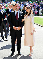 Patrick J. Adams and wife Troian Bellisario arrive at St George's Chapel at Windsor Castle for the wedding of Meghan Markle and Prince Harry.
