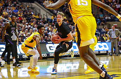 Mar 20, 2019; Morgantown, WV, USA; Grand Canyon Antelopes guard Trey Drechsel (2) drives down the lane during the first half against the West Virginia Mountaineers at WVU Coliseum. Mandatory Credit: Ben Queen