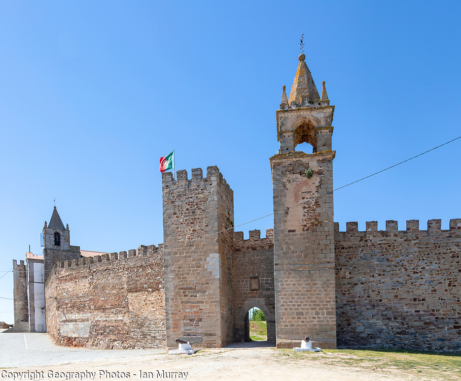 Matriz church in walls of historic ruined castle at Mourão , Alentejo Central, Evora district, Portugal, southern Europe