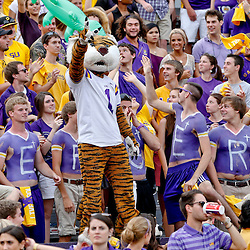 Oct 12, 2013; Baton Rouge, LA, USA; LSU Tigers mascot Mike the Tiger celebrates with fans in the stands during the second half of a game against the Florida Gators at Tiger Stadium. LSU defeated Florida 17-6. Mandatory Credit: Derick E. Hingle-USA TODAY Sports