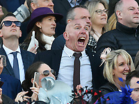 National Hunt Horse Racing - 2019 Randox Health Grand National Festival - Saturday, Day Three (Grand National Day)<br /> <br /> An excited male racegoers shouts out as Tiger Roll heads  into the final straight, in the 1.45 Gaskells Handicap Hurdle (Grade 3) (Class 1)<br /> at Aintree Racecourse.<br /> <br /> COLORSPORT/WINSTON BYNORTH