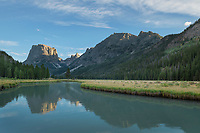 Squaretop Mountain reflected in Green River, Bridger Wilderness, Wind River Range Wyoming