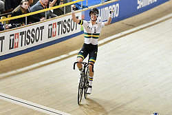 March 2, 2018 - Apeldoorn, NETHERLANDS - Australian Cameron Meyer of Mitchelton - Scott celebrates after winning the men's points race event at the 2018 world championships track cycling in Apeldoorn, the Netherlands, Friday 02 March 2018. The track cycling worlds take place from 28 February to 04 March. BELGA PHOTO YORICK JANSENS (Credit Image: © Yorick Jansens/Belga via ZUMA Press)