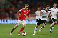 Aaron Ramsey of Wales breaks away from Stefan Ilsanker of Austria. Wales v Austria , FIFA World Cup qualifier , European group D match at the Cardiff city Stadium in Cardiff , South Wales on Saturday 2nd September 2017. pic by Andrew Orchard, Andrew Orchard sports photography