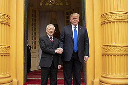 February 27, 2019 - Hanoi, Vietnam - Vietnamese President NGUYEN PHU TRONG welcomes U.S President DONALD TRUMP on arrival at the Presidential Palace in Hanoi, Vietnam. (Credit Image: © Shealah Craighead/The White House via ZUMA Wire)