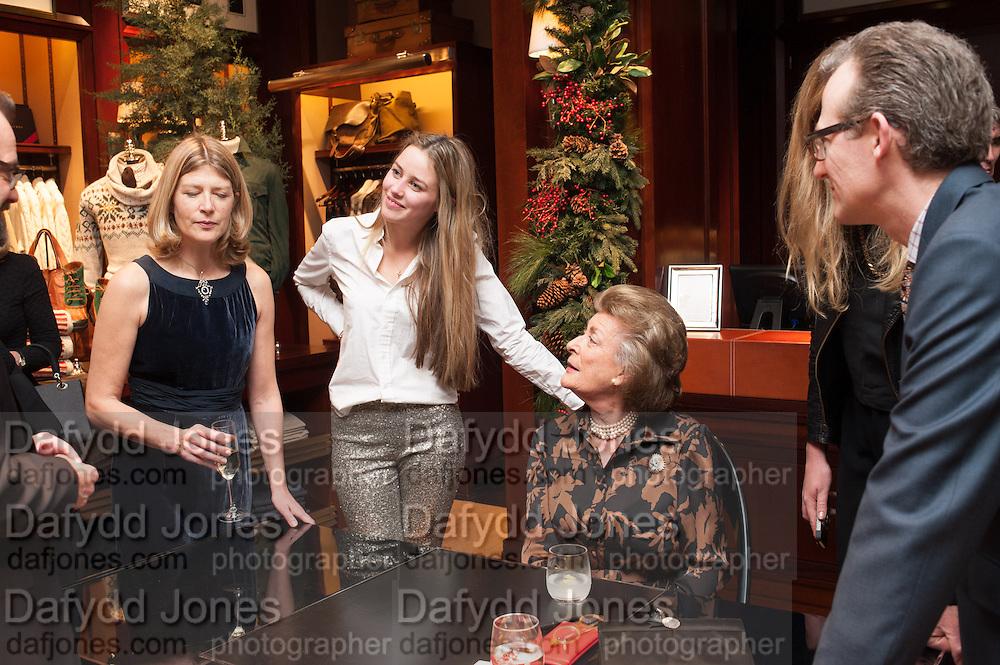 EDWINA HICKS; MADDISON MAY BRUDENELL; ASHLEY HICKS; LADY PAMELA HICKS, , Book launch for ' Daughter of Empire - Life as a Mountbatten' by Lady Pamela Hicks. Ralph Lauren, 1 New Bond St. London. 12 November 2012.