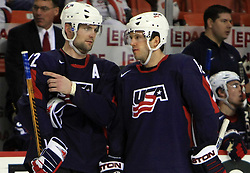 Mark Stuart (22) and Lee Stempniak (12) at ice-hockey match USA vs Slovenia at Preliminary Round (group B) of IIHF WC 2008 in Halifax, on May 04, 2008 in Metro Center, Halifax, Nova Scotia, Canada. (Photo by Vid Ponikvar / Sportal Images)
