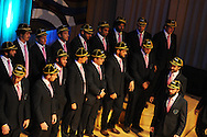 The Uruguay rugby team take to the stage. Uruguay 2015 World Cup team welcoming ceremony at the Royal Welsh College of Music and Drama in Cardiff, Wales.on Monday 14th Sept 2015.<br /> pic by Andrew Orchard, Andrew Orchard sports photography.