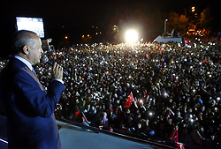 Turkey's President and leader of ruling Justice and Development Party Recep Tayyip Erdogan addresses his supporters from his Tarabya Palace in Istanbul, late Sunday, June 24, 2018. Erdogan has claimed victory in critical elections based on unofficial results, securing an executive presidency with sweeping powers. Photo by Depo Photos/ABACAPRESS.COM