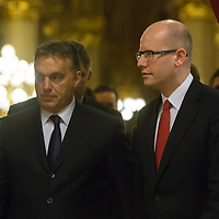 Viktor Orban (L) Prime Minister of Hungary and Bohuslav Sobotka (R) newly appointed Prime Minister of Czech Republic talk while entering a press conference after the special meeting of the prime ministers of the Visegrad 4 Group in Budapest, Hungary on January 29, 2014. ATTILA VOLGYI