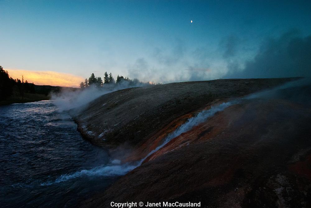 Yellowstone, Yellowstone River, Firehole, hot springs, run-off, moon, twilight, Montana, USA, National Park, summer, ©JMacCausland, steam, hot,