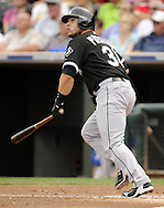 SURPRISE, AZ - MARCH 06:  Josh Phegley #36 of the Chicago White Sox bats against the Kansas City Royals on March 6, 2014 at The Ballpark in Surprise in Surprise, Arizona. (Photo by Ron Vesely)   Subject: Josh Phelgey