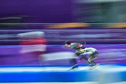 February 23, 2018 - Pyeongchang, Gangwon, South Korea - Tsubasa Hasegawa of Japan and Konrad Nagy of Hungary in 1000 meter speedskating at winter olympics, Gangneung South Korea on February 23, 2018. (Credit Image: © Ulrik Pedersen/NurPhoto via ZUMA Press)