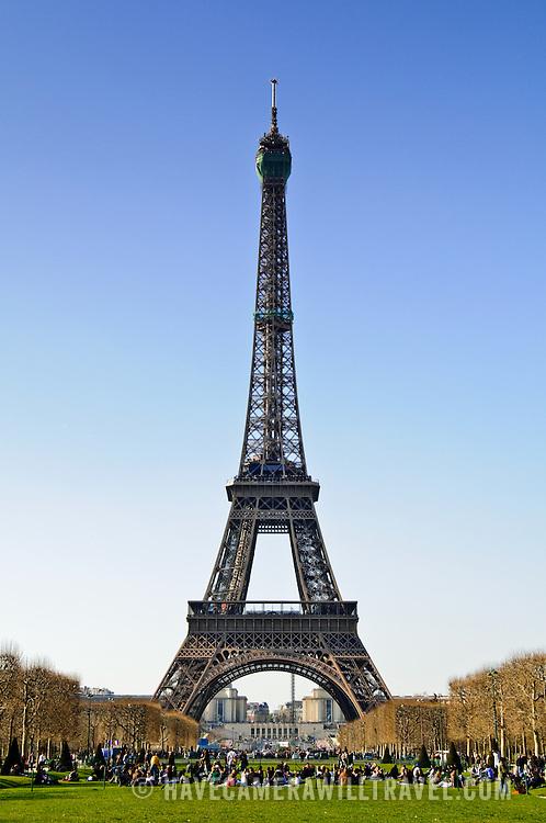 Eiffel Tower seen from Champ de Mars facing northwest.