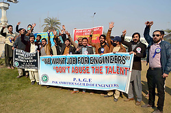 January 2, 2018 - Pakistan - PESHAWAR, PAKISTAN, JAN 01: Members of Pak Ambitious Guild Engineers are holding .protest demonstration for acceptance of their demands, outside Khyber Pakhtunkhwa Assembly .building Peshawar on Monday, January 01, 2018. (Credit Image: © PPI via ZUMA Wire)