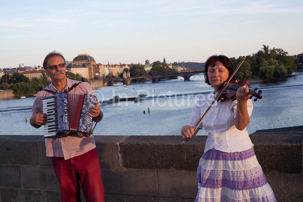 Buksers on Charles Bridge; Prague, Czech Republic.