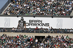 A banner honoring retired Philadelphia Eagle Brian Dawkins is seen in the stands during the NFL game between the Detroit Lions and the Philadelphia Eagles on Sunday, October 14th 2012 in Philadelphia. The Lions won 26-23 in Overtime. (Photo by Brian Garfinkel)