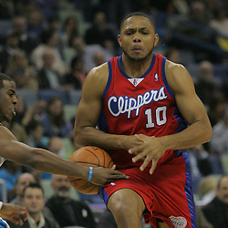 Jan 13, 2010; New Orleans, LA, USA; New Orleans Hornets guard Chris Paul (3) steals the ball from Los Angeles Clippers guard Eric Gordon (10) during the first quarter at the New Orleans Arena. Mandatory Credit: Derick E. Hingle