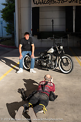Michael Lichter photographing Norm Wilding's custom 1949 Harley-Davidson Panhead trike at the Handbuilt Show. Austin, TX. USA. Sunday April 22, 2018. Photography ©2018 Michael Lichter.
