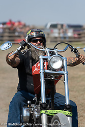 Ken Schmoldt in the Cycle Source motorcycle rodeo games at the Spur Creek Ranch during the 78th annual Sturgis Motorcycle Rally. Sturgis, SD. USA. Wednesday August 8, 2018. Photography ©2018 Michael Lichter.