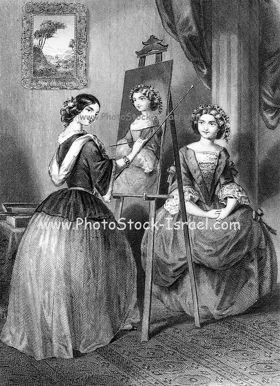 A Tableau Picture female artist paints a portrait of a female model From Godey's Lady's Book and Magazine, January 1864, Philadelphia, Louis A. Godey, Sarah Josepha Hale,