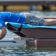 Boat holder<br /> <br /> Qualification races and training at the 2019 Junior Worlds, on the Sea Forest Waterway, Tokyo, Japan. Thursday 8  August 2019  © Copyright photo Steve McArthur / www.photosport.nz