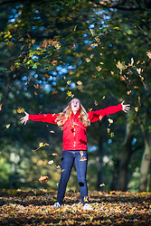 CAPTION CORRECTION<br /> © Licensed to London News Pictures. 22/10/2018. Leeds UK. 13 year old Cerys plays in the leaves at Temple Newsam park in Leeds this morning on a sunny start to the day in Yorkshire. Photo credit: Andrew McCaren/LNP