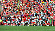 KANSAS CITY, MO - SEPTEMBER 29:  Kicker Ryan Succop #6 of the Kansas City Chiefs kicks a 51-yard field goal against the New York Giants during the first half on September 29, 2013 at Arrowhead Stadium in Kansas City, Missouri.  (Photo by Peter Aiken/Getty Images) *** Local Caption *** Ryan Succop