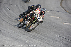 Matt Harris and Moonshiner Josh Owens on the track on their Harley-Davidson racers at Billy Lane's Sons of Speed vintage motorcycle racing during Biketoberfest. Daytona Beach, FL, USA. Saturday October 21, 2017. Photography ©2017 Michael Lichter.