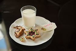 Note to Santa with milk and cookies, Munich, Bavaria, Germany