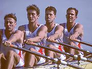 Barcelona, SPAIN.   GBR M4X, Roger BROWN , Peter HAINING ,  Mike HARRIS , Guy POOLEY, 1992 Olympic Rowing Regatta Lake Banyoles, Catalonia [Mandatory Credit Peter Spurrier/ Intersport Images] 2000 Olympic Rowing Regatta00085138.tif