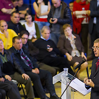 Ferenc Gyurcsany (R) former prime minister of Hungary delivers his speech during the Foundation of the Democratic Coallition Party in Budapest, Hungary on October 22, 2011. ATTILA VOLGYI