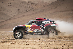 AREQUIPA, Jan. 11, 2019  French driver Stephane Peterhansel and co-driver David Castera compete during the 4th stage of the 2019 Dakar Rally Race, near La Joya, Arequipa province, Peru, on Jan. 10, 2019. Stephane Peterhansel and David Castera ranked 2nd of the 4th stage with 3 hours 40 minutes and 41 seconds. (Credit Image: © Xinhua via ZUMA Wire)