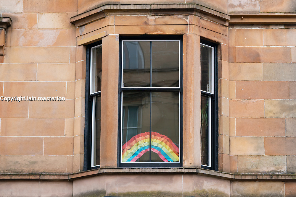 Glasgow, Scotland, UK. 3 April, 2020. Images from the south side of Glasgow at the end of the second week of Coronavirus lockdown. Pictured; Rainbow in window of flat in Govanhill. Iain Masterton/Alamy Live News