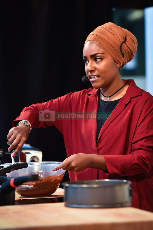 Nadiya Hussain gives a cookery demonstration at The Chocolate Show, at Olympia in Kensington, London. Picture date: Friday October 13th, 2017. Photo credit should read: Matt Crossick/ EMPICS Entertainment.