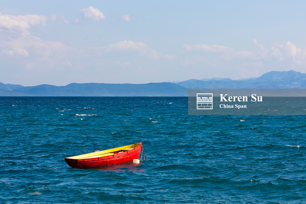 Canoe on Lake Ohrid, UNESCO World Heritage, Republic of Macedonia