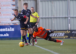 Falkirk's Aaron Muirhead and Dundee United's Yannick Loemba. Falkirk 0 v 2 Dundee United, Scottish Championship game played 22/9/2018 at The Falkirk Stadium.