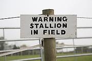 Sign warning stallion in field