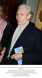 Rolling Stone CHARLIE WATTS at an exhibition in London on 24th March 2004.<br /> PSW 165