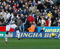 Photo: Steve Bond/Richard Lane Photography. West Bromwich Albion v Newcastle United. Barclays Premiership. 07/02/2009. Marc-Antoine Fortune fires home the 1st West Brom goal