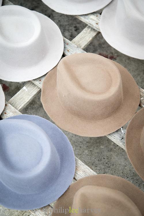 Felt hats drying in the sun, Otavalo , Ecuador, South America