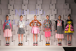 © Licensed to London News Pictures. 01/06/2014. London, England. Collection by Natalie Davison from the Manchester School of Art. Graduate Fashion Week 2014, Runway Show at the Old Truman Brewery in London, United Kingdom. Photo credit: Bettina Strenske/LNP