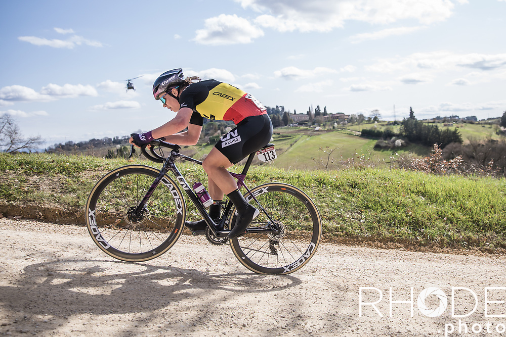 Belgian National Champion Lotte Kopecky (BEL/Liv Racing) on the white gravel roads of Tuscany.  (With bad luck = flat tyre)<br /> <br /> 7th Strade Bianche Women Elite <br /> Siena > Siena 136km<br /> <br /> ©RhodePhoto