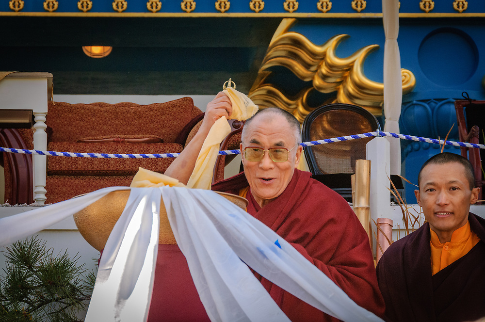 The DALAI LAMA blesses the audience with SAKYONG MIPHAM RINPOCHE at The Great Stupa of Dharmakaya.