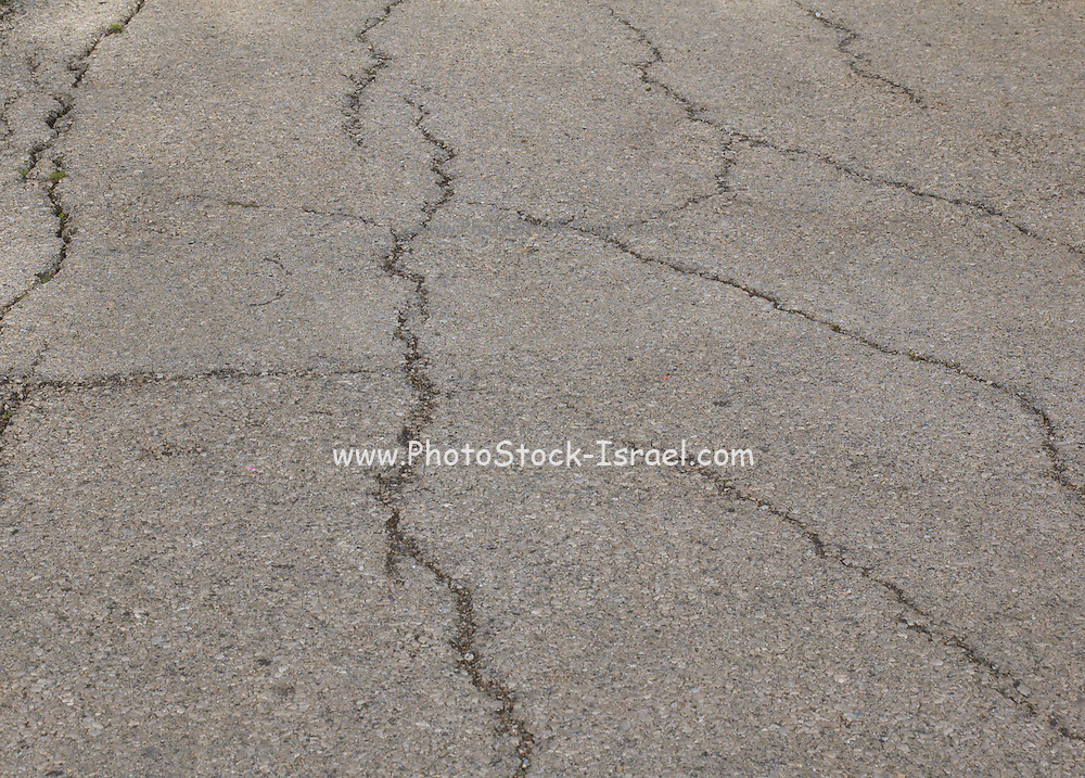 Cracks in a paved street